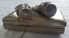 Two antique Victorian chain mail mesh gate top miser coin purse & tabaco box - ca.1900