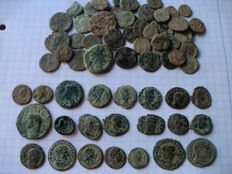 Roman Empire – Lot of 65 coins of various emperors (Augustus, Claudius, Constantine, Constantius, etc.) – some uncleaned, and others beautiful