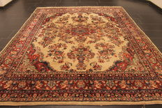 Old, high quality, hand-woven, Persian carpet Sarouk, made in Iran, old colours 240 x 300cm