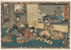 "Original large woodcut by Utagawa Kunisada (1786 – 1864), from the series ""Faithful Depictions of the Figure of the Shining Prince"" – Japan – 1851"