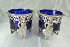 Silver salt cellars, cobalt blue glass, France, early 19th century