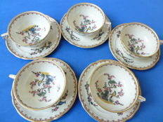 Five vintage B&C Limoges France tea cups & saucers - L. bernardauD&C Limoges -CHANTILLY