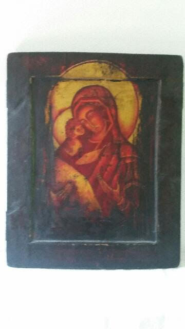 Very Large (50x41cm) Icon on Wood - Mary with Child - 20th century