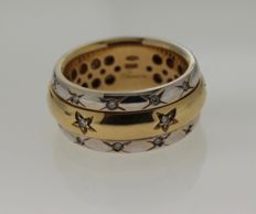 18 kt bi-colour gold ring inlaid with diamond – Ring size: 17.