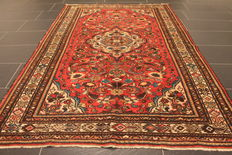 Old, high quality, hand-woven, Persian carpet Sarouk, made in Iran, old colours 150 x 220 cm