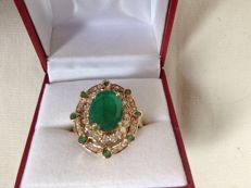 14k yellow gold ring with  diamonds and emeralds - size 18 - ***no reserve***