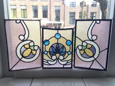 Three beautiful old Jugendstil sun catcher with soft colours in stained glass with mosaic pieces made from mouth-blown glass - approx. 1920