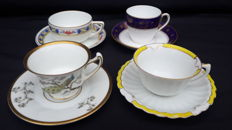 Mixed lot of 4 cups with saucer stamped and numbered - Germany - 1901/1939
