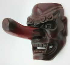 Handmade painted wooden mask of a fierce tengu signed Masanao - Japan - First half 20th century