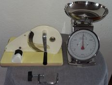 Vintage cutting machine and scales