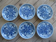 Six plates with a lange lijs - Chine - 19th century