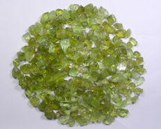 Natural Green Peridote Crystals - 5 to 18 mm - 100 gm
