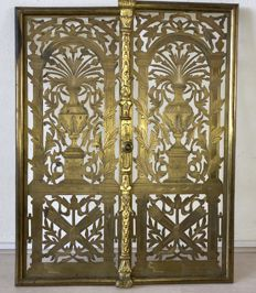 French Empire style gilded brass fireplace doors