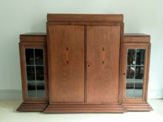 Art Deco rosewood sideboard with stained glass and intarsia