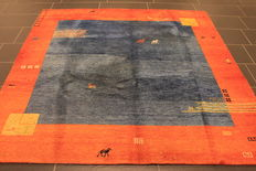 Wonderful Persian carpet Gabbeh wool on wool, Nomad work, made in India, natural colours 195 x 200 cm, good condition