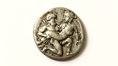 Greek Antiquity - Islands of Thrace, Thasos AR Drachm. Circa 435-411 BC. Erotic scene, Classical style.