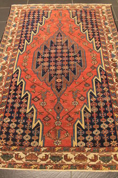 Old high-quality hand-knotted Persian carpet – Mazleghan – Made in Iran – plant colours – 130 x 190 cm