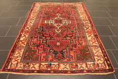 Hand-knotted Persian carpet, collector's carpet, genuine Hamadan, made in Iran, plant colours, 132 x 232 cm