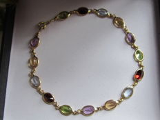 Bracelet in 18 kt gold and aquamarines, citrines, amethysts, peridots, and rubies - 18.5 cm ***No Reserve Price***