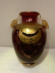 Murano - beautiful antique vase with gold and grape decorations, 20th century, Italy