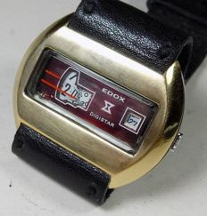 Edox Digistar - Black Face - Jump Hour - With Date -  1960's - Men's Wristwatch