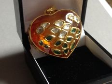 Pendant- 18 kt gold, citrine, diamonds and emerald.
