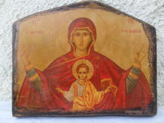 Icon Mary Platytera - cypress wood - Greece 19th century