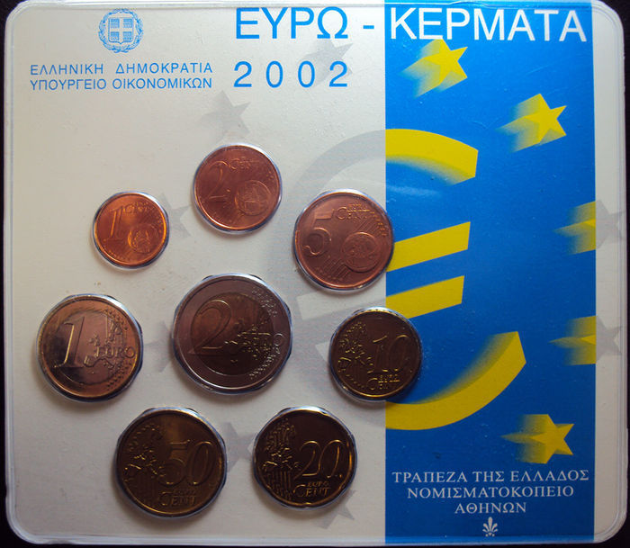 """Greece – year pack 2002 """"Struck at the Dutch Mint""""."""