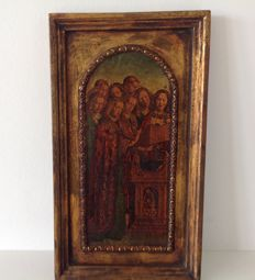 Oil on wood-France-18th - religious scene painted on Panel wood
