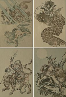 Four original single woodcuts in pastel shades, by Katsushika Kansai (aka Raijiro Ichikawa) – Japan – 1893