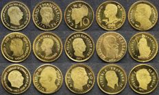 World – 15 different gold miniature coins – gold