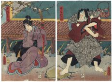 Large original diptych woodcut by Utagawa Kunisada (1786-1864) – Japan – 1853