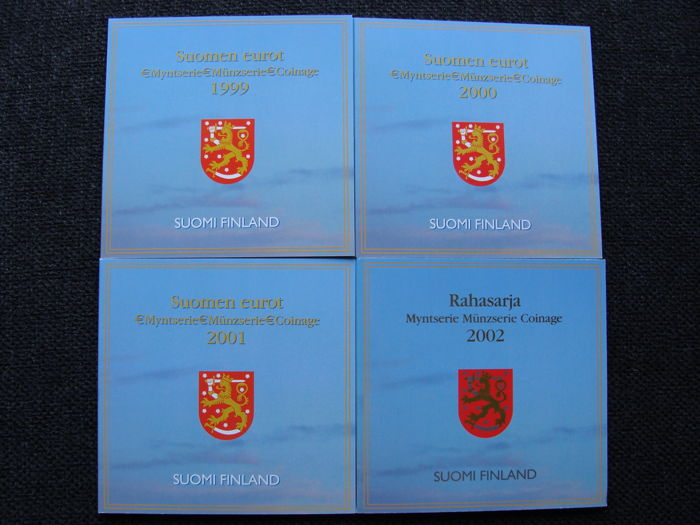 Finland – year packs/ collections 1999, 2000, 2001 and 2002 (4 sets in total).