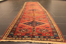 Rare beautiful antique Persian rug, Heris Heriz, plant colours, 72 x 275 cm runner, from € 1, no reserve price