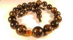 Black modified round beads Baltic Amber necklace