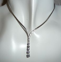 Necklace / Y-chain in 585 / 14 kt white gold with 5 white brilliant cut diamonds – approx. 0.55 ct