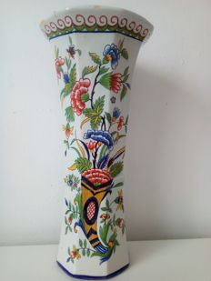 Charles Fourmaintraux - Courquin - cornucopia-style vase in Desvres faience, 19th century, signed