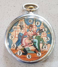 DOXA - Lepine pocket watch with erotic dial and moving animation for men - gentlemen's pleasure