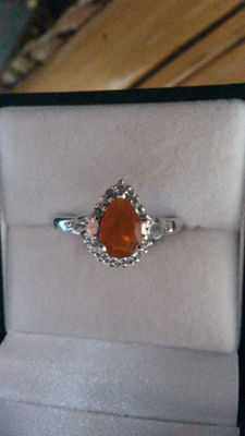 Orange AA American Fire Opal & white Topaz Coctail ring. 1.21cts No Reserve