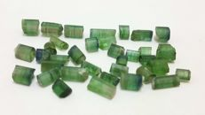 Very nice green ,watermelon and indicolite blue tourmaline crystals lot - 65 ct.