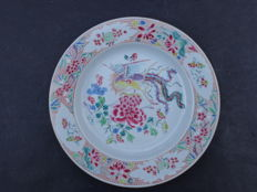 Famille rose plate with bird – China – 18th century
