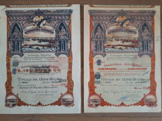 Portugal:  Carregadores Açoreanos 1920 and 1928 (different versions),  Banco Colonial Portuguez &  Banco do Minho. Lot of 6 large deco items.