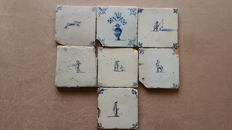 Dutch tiles 7 pieces - Ox heads