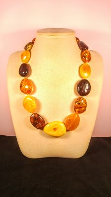 Baltic Amber mix color necklace, 112 grams