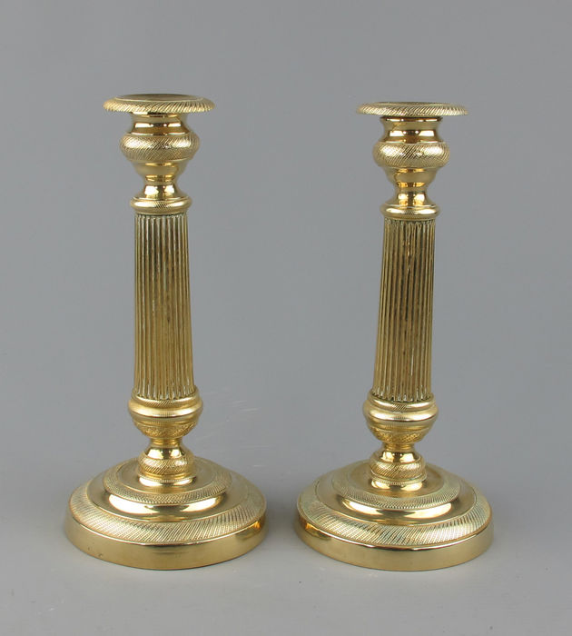 A pair of brass candlesticks - France - Empire II - France - ca. 1835
