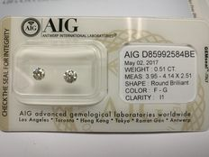 Lot of 2 Round cut diamonds total 0.51 ct F-G I1