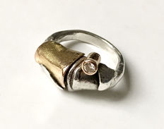 925 silver ring with 18 kt gold and diamond - handmade - size: 46 (6)