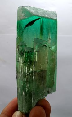 Double Terminated & Undamaged Facet Grade Lush Green Fourth Kunzite Hiddenite Crystal - 93 x 34 x 29 mm - 200 gm