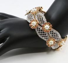Very Exclusive Yellow Gold Pair Diamond Bangle with Pearls and Enamel work with 7.14 ct.- Containing 660 Diamonds