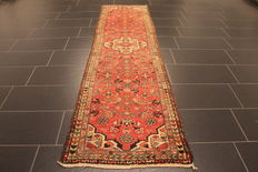 Old high quality handwoven Persian carpet, Malay, Made in Iran, plant dyes 75 x 250 cm